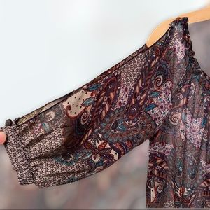 Guess Boho Sheer Top with Shoulder Cut Outs